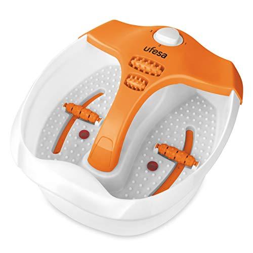 Ufesa BH5700 - Hidromasajeador, Mando selector con 3 posiciones, Función burbujas, Vibración, Calor infrarrojo, Calentar agua, Tapa antisalpicaduras, 4 rodillos de masaje por presión