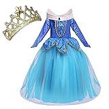 NNDOLL Aurora Principessa Vestito sleeping beauty Costume bambina carnevale abito Partito Ragazza Cerimonia (blu 140/5-6 anni)