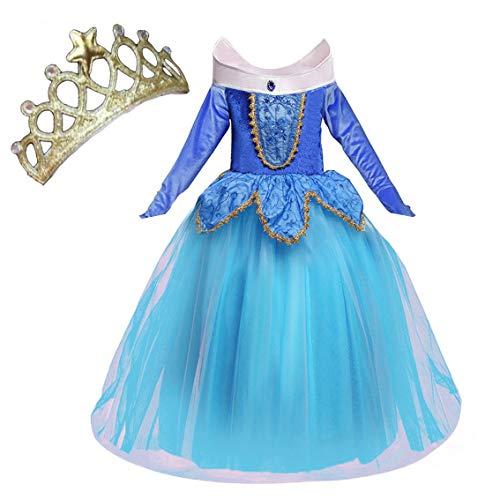 NNDOLL Aurora Principessa Vestito sleeping beauty Costume bambina carnevale abito Partito Ragazza Cerimonia (blu 130/4-5 anni)