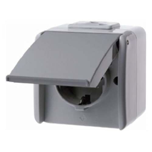 Hager 474005 Steckdose Typ F Grau - Steckdosen (Typ F, Grau, Kunststoff, Thermoplast, IP44, 250 V, 16 A)