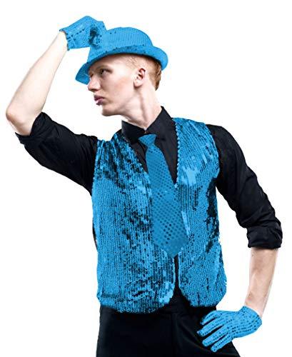 Gojoy Shop - Juego de Chaleco con Lentejuelas de Cuello V para Nios y Hombres, Baile, Danza, Fiestas, Party, Carnavales. (Dispone de varios colores, 6 tallas.) (AZUL CLARO, 4-6 AOS)