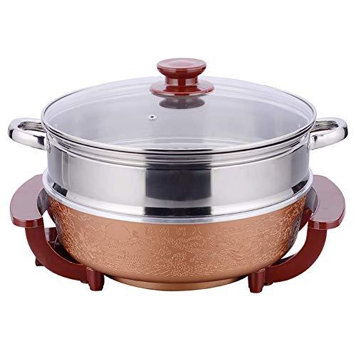 Fondue Hot Pot Elektrische barbecue in moderne stijl van coruPC Hot Pot Hot Pot Pan Smoke Free Antiaanbaklaag een stuk Pot.1800 W hoog vermogen Yellow + Steamer