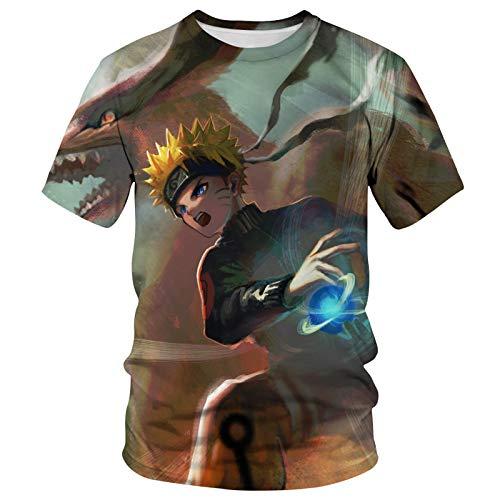 ZOSUO Hombres Camiseta 3D Naruto Uzumaki Naruto Patrones Impresos Manga Corta Camiseta S-6XL Suave Y Transpirable,S