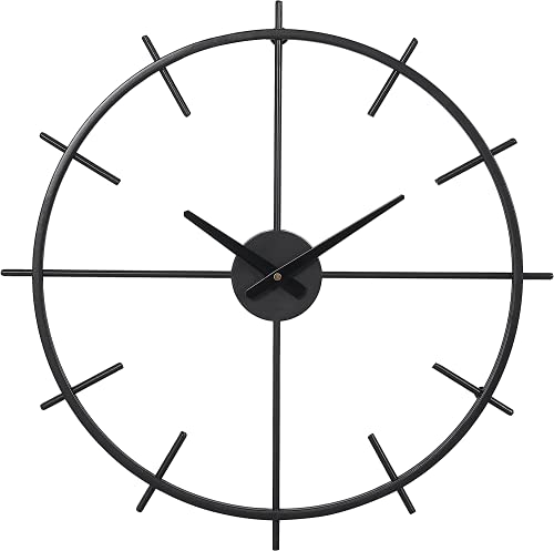 Amazon Brand - Umi 54CM Reloj grande de pared en metal negro, silencioso y sencillo, perfecto para el salón y el dormitorio