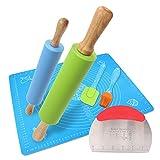 Set di mattarelli combinati di grandi e piccoli rulli in silicone antiaderenti e tagliapasta per pasticceria, tappetino da pasticceria, raschietto e pennello