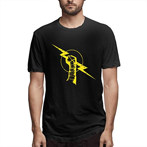 ZQW cm Punk Logo Nexus Men's Comfort Cotton Stretch Short Sleeve T-Shirt (L, Black)
