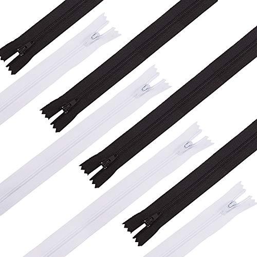 BENECREAT 100PCS 25cm Cremallera Negra y Blanca Cremallera de Nylón para Almohadas, Ropa, Falda, Pantalones y Muñecas 50 pcs/Color