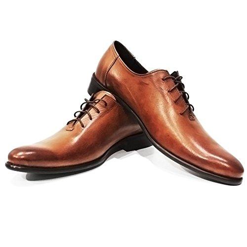Modello Porto - Cuero Italiano Hecho A Mano Hombre Piel Color Marrón Zapatos Vestir Oxfords - Cuero Cuero Pintado a Mano - Encaje