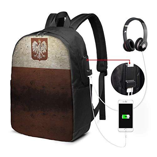 RROOT Root Unisex Rucksack mit USB-Ladeanschluss, Vintage-Stil, Polnische Flagge, klassisch, für Geschäftsbücher