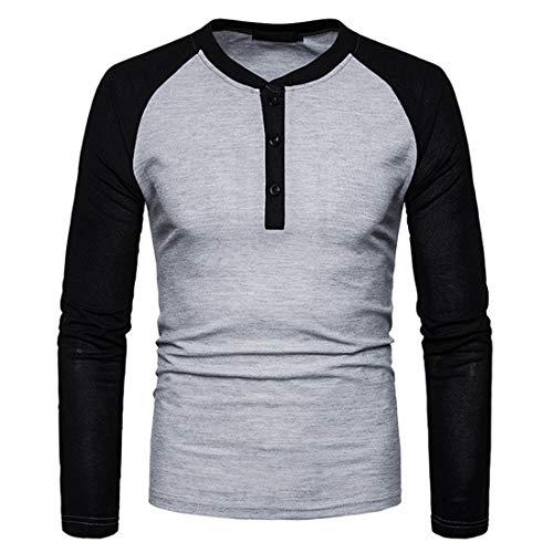 Men T Shirt Men Top Long Sleeve Round Neck Comfortable Casual Self-Cultivation Elastic Fiber All-Match Men T Shirt Autumn New Patchwork Sport T Shirt Men Casual T Shirt A-Light Grey M