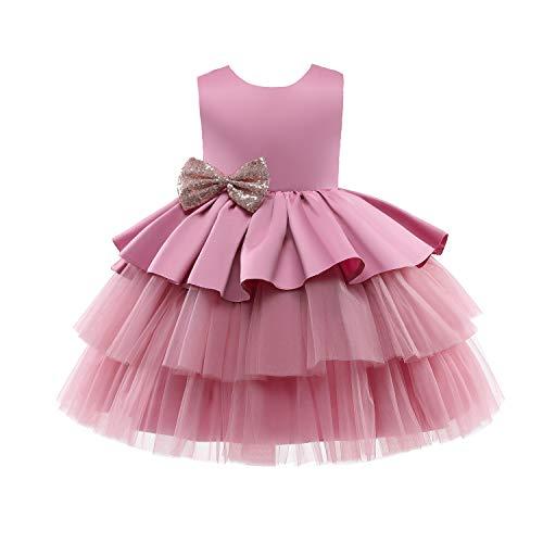TTYAOVO Ragazza Tulle Compleanno Festa Principessa Tutu Paillettes Arco Vestito Abito da Ballo Taglia (90) 12-24 Mesi 730 Rosa