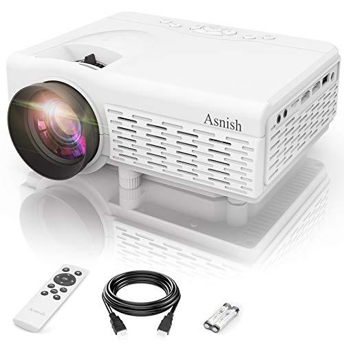 Asnish Proiettore,Mini Videoproiettore,Proiettore Portatile Bluetooth per la Casa,Supporto 1080P Full HD, 50000 Ore Proiettore LED, Compatibile Con HDMI/USB/AV, TF/DCIN/VGA