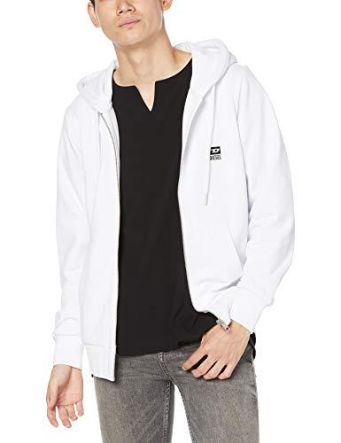 Diesel S-GIRK-Hood-Zip-K1 Herren Sweatjacke, Farbe:Weiß, Größe:M