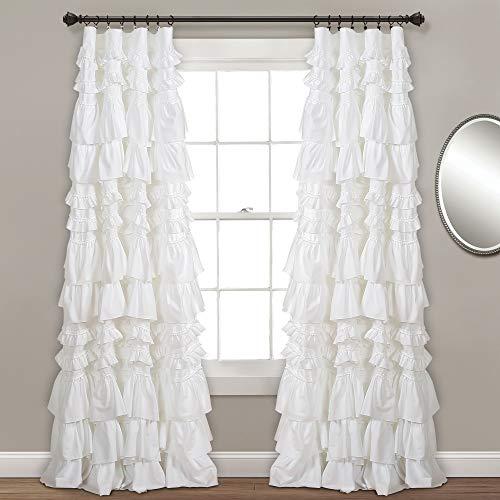 "Lush Decor, White Kemmy Window Curtain Sing Panel, 84"" x 52"""
