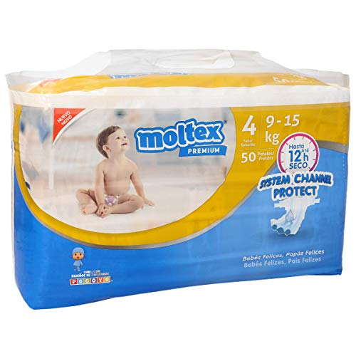 MOLTEX Premium pañales system channel protect 9-15 kgs talla 4 paquete 50 uds