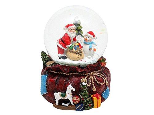 Dekohelden24 Schneekugel mit stehenden Weihnachtsmann, Schneewirbel, Sound und Licht, Maße H/B/Ø Kugel: ca. 13 x 11,5 cm/Ø 10 cm.