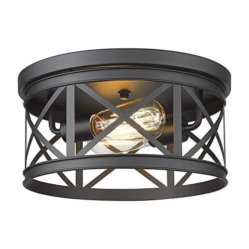 FEMILA Flush Mount Ceiling Light, 12inch Rustic Metal Cage Close to Ceiling Light Fixture for Hallway Stairway Kitchen Garage, Black Finish, 4FD19-F BK