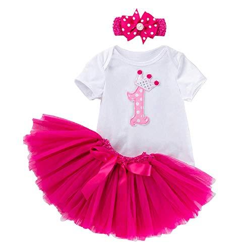 Primo Compleanno Bambina - Body Gonna Tulle - Tutu - Fascia per Capelli con Fiocco - Completo - Ballerina - Bimba - neonata - Prima Infanzia - Colore Fuxia - 18-24 Mesi - Taglia XL