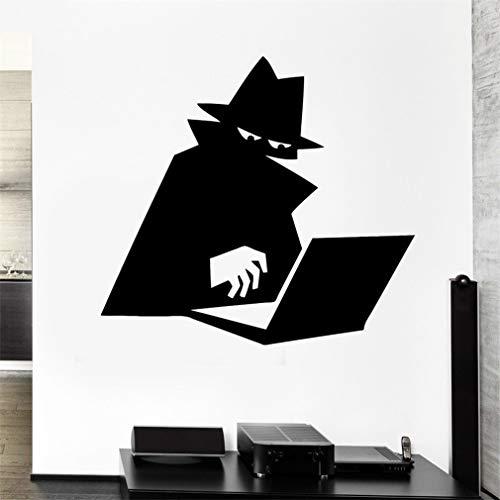 Wandtattoo Kinderzimmer Spion Schatten Mantel Computer Hacker Hut Agent Aufkleber für Wohnzimmer Schlafzimmer