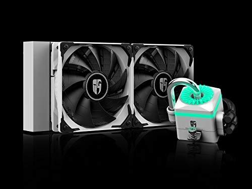 DeepCool Captain 240X Bianco RGB Sistema di Raffreddamento Anti-Leak Radiatore da 240mm Dissipatore a Liquido RGB 12V 4-Pin Compatibile Intel 115X/2066 e AMD AM4 TR4