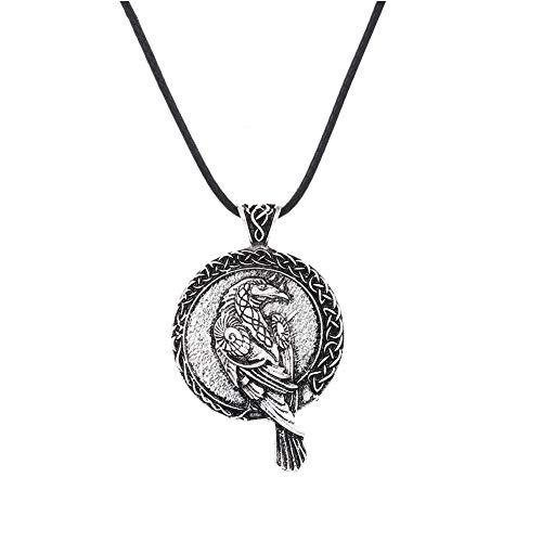 SBRTL Raven Halskette, Odin Raven Anhänger Amulett Celtic Wiccan im Nordischen Stil Mit Lederschnur Und Geschenktüte,Silber
