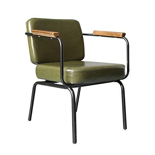 Decoración de muebles Sillas de comedor modernas Silla de comedor de metal Uso interior al aire libre Comedor elegante Bistro Cafe Sillas laterales de metal con asiento de cojín (Color: Verde retro