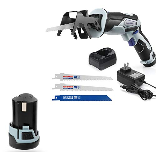 WORKPRO 12V Cordless Reciprocating Saw with Extra 2.0Ah Li-ion Battery