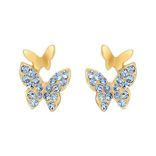 Aretes Pendientes De Botón De Mariposa De Cristal Azul Elegantes Pendientes Femeninos Coreanos De Moda Pendientes De Navidad Para Mujer Estudiante Versátil