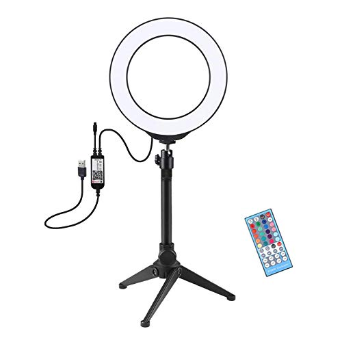 Gazechimp Kit de luz de Anillo LED de 8 Pulgadas, Luces de Anillo de Maquillaje de Color Ajustable con Abrazadera de Mesa, Soporte de teléfono, Bluetooth para - Conjunto F