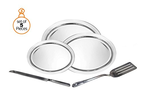 """5 Piece Serving Tray Buffet Set - Includes 14"""", 16"""", and 20"""" Stainless Steel Oval Serving Platters, Cake Knife, and Slotted Turner PLUS a Chicken Shaped Foam Cleaning Sponge"""