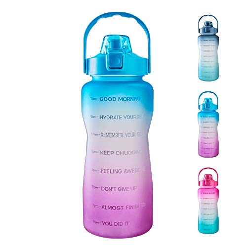 64oz Leakproof Free Drinking Water Bottle with Motivational Time Marker BPA Free for Fitness, Gym and Outdoor Sports (Green/Purple Gradient)