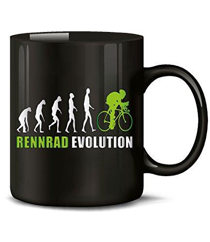 Golebros Rennrad Evolution Radsport 5900 Geburtstag Geschenk Fun Tasse Becher Kaffeetasse Kaffeebecher Schwarz-Grün