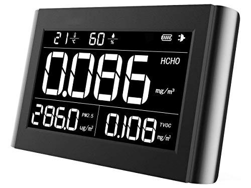 Luftqualität Messgerät-Therm M1000 Luftqualitätsmonitor für PM2.5 HCHO TVOC Formaldehyd Temperatur Luftfeuchtigkeit Indoor Detektor Große LCD-Anzeige 【3 Jahr Garantie】
