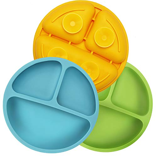 PandaEar Assiettes en Silicone Incassable Divisées Pour Bébés et Tout-petits - Paquet de 3 - Antidérapantes - Passe au Lave-vaisselle et au Micro-ondes - Silicone (Aspiration Bleu Vert Jaune)
