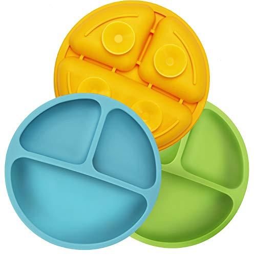 PandaEar ha diviso l'aspirazione infrangibile del bambino del silicone ed i piatti del Toddler - 3 Pack - Non-Slip - lavastoviglie e cassaforte di microonda (blu verde giallo)