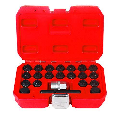 BELEY 22-teiliges Radschloss-Entferner-Set, Auto-Rad-Diebstahl-Schrauben, Schraubenentferner, Steckschlüssel-Entferner-Kit für Audi