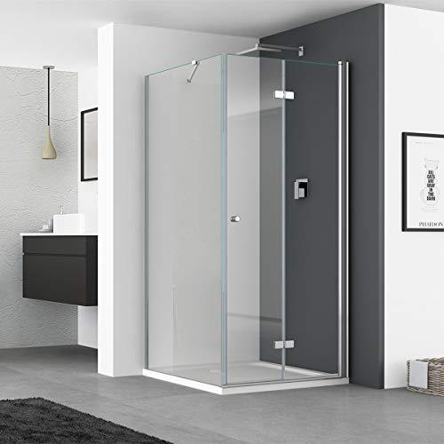 IMPTS Duschkabine 75 x 70 cm Duschtür Falttür mit 70cm Seitenwand Duschabtrennung 6mm ESG Sicherheitsglas 185cm Höhe, OHNE Duschwanne
