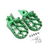 JFG RACING Green Billet MX Wide Foot Pegs Footpegs Foot Pedals Rests For Kawasaki KX250F 2006-2016, KX450F 2007-2016, KLX450R 2008-2013