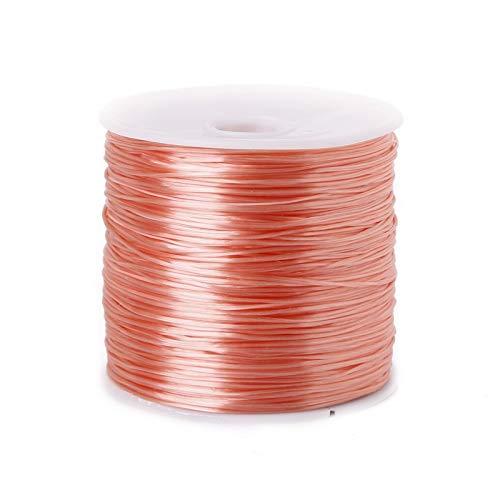 Alambre de abalorios de 50 m/rollo de cuentas de cristal para hacer joyas, cuerda elástica de 0,7 mm, accesorios para collares (color: beige, tamaño: 50 metros)