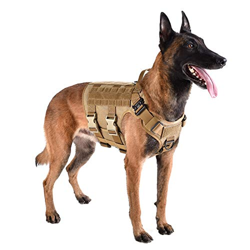 """ICEFANG Tactical Dog Harness ,Hook and Loop Panels for Patch,Working Dog MOLLE Vest with Handle,No Pulling Front Leash Clip,6 x Buckle (L (Neck:18""""-24"""" ; Chest:28""""-35"""" ), Coyote Brown)"""