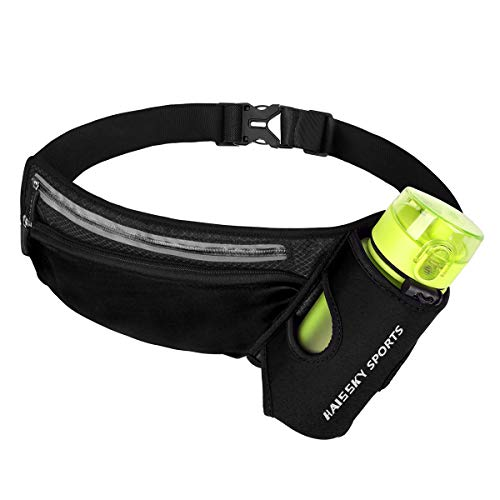 HAISSKY Riñonera Running para Correr Deportiva Impermeable Multifuncional Bolso de Cintura con Portabotellas para iPhone 12 Pro MAX 11 XS MAX,Galaxy S10 para Deportes o Viaje al Aire Libre
