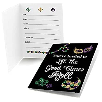 Big Dot of Happiness Mardi Gras - Fill In Masquerade Party Invitations  8 count