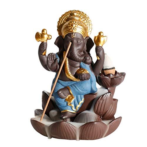 SUPVOX Backflow Incense Burner Ceramic Ganesha Elephant God Incense Holder Ganesh Statue...