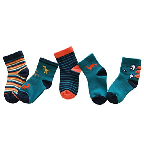 AIEOE Unisex Baby Toddler Kids Cotton Socks Cartoon Animals Crew Socks 5 Pairs