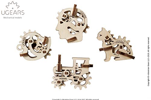 UGEARS 70029 U-Fidgets Tribiks Puzzleteile-Set mit 4 Modellen-Anti-Stress-3D-Puzzle-Selbstbausatz-4 Mini Miniaturmodell-Mechanische Modelle-Sperrholzbaukasten
