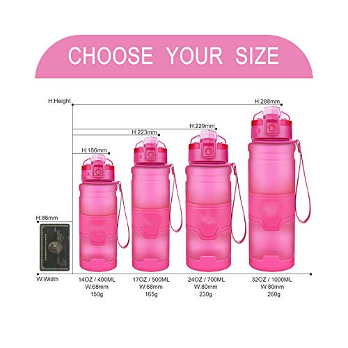 Running-sun Best sports bottle co-polyester plastic material bottle fitness school yoga children/adult water bottle with filter-pink-400ml