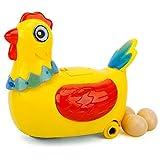 Oyria Juguete eléctrico de gallina Que Pone Huevos para niños, gallina Que Pone Huevos, Juguete para Caminar con luz Colorida y música, Juguetes interactivos, muñeca Que Pone Huevos, gallina Loca