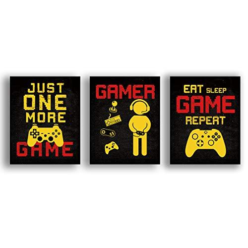 KAIRNE 3er Set Gaming Poster, Bilder für Gamer, Videospiel Wandbild, Eat Game Sleep Repeat Wandposter, Wandkunst für Jungen Teenager Schlafzimmer Spielzimmer Geschenk Dekor Ohne Rahmen