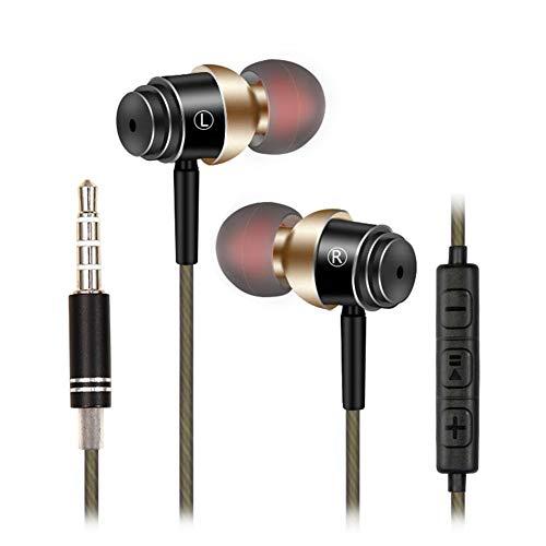 Grety - Auricolari con cavo stereo anti-rumore, jack da 3,5 mm, con microfono universale per Apple, iPhone, iPad, iPod, Tablet, Android Smartphone, MP3, MP4, ecc (Oro)