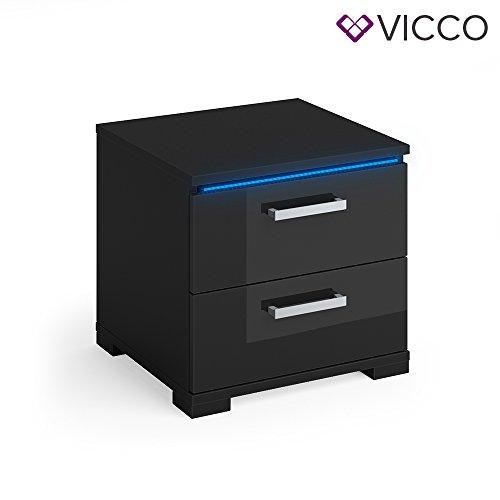 Vicco Nachtschrank Picot schwarz Hochglanz 2er Set LED Nachttisch Kommode Schrank Schlafzimmer Schublade